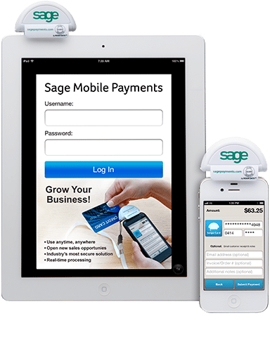 Sage mobile payments used on a tablet and mobile device