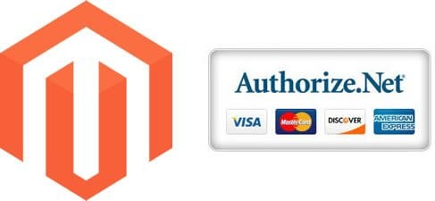 Magento logo with authorize.net integration with credit cards